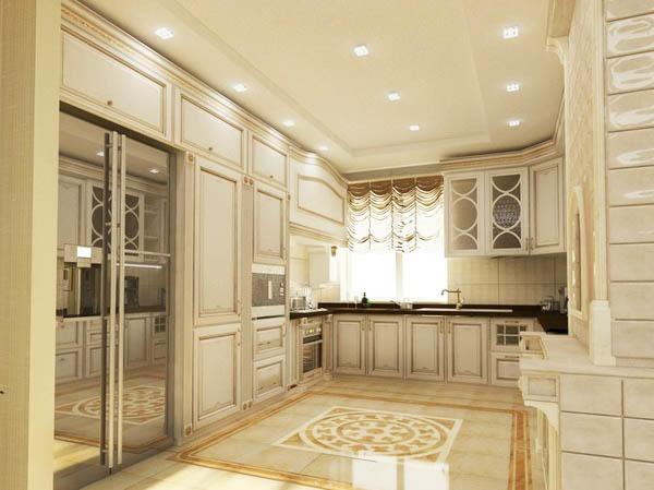 Кухни в классическом стиле также удачно вписываются в площадь 15 кв. м. Данный стиль нравится большинству людей, поэтому, если не хотите экспериментировать, а хотите просто качественную и универсальную кухню - обязательно присмотритесь к данному стилю