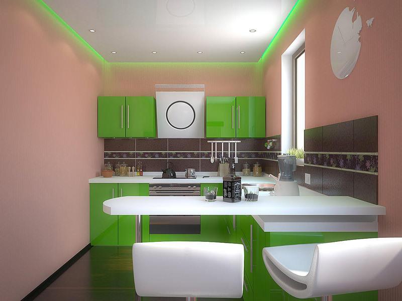Угловая планировка мебели в узкой кухне визуально делает помещение квадратным