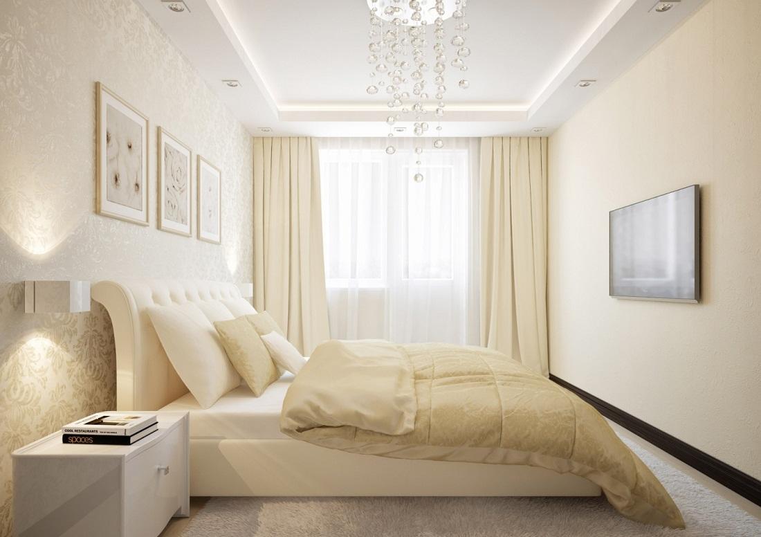 Чтобы спальня визуально казалась больше, ее необходимо оформлять в светлых тонах