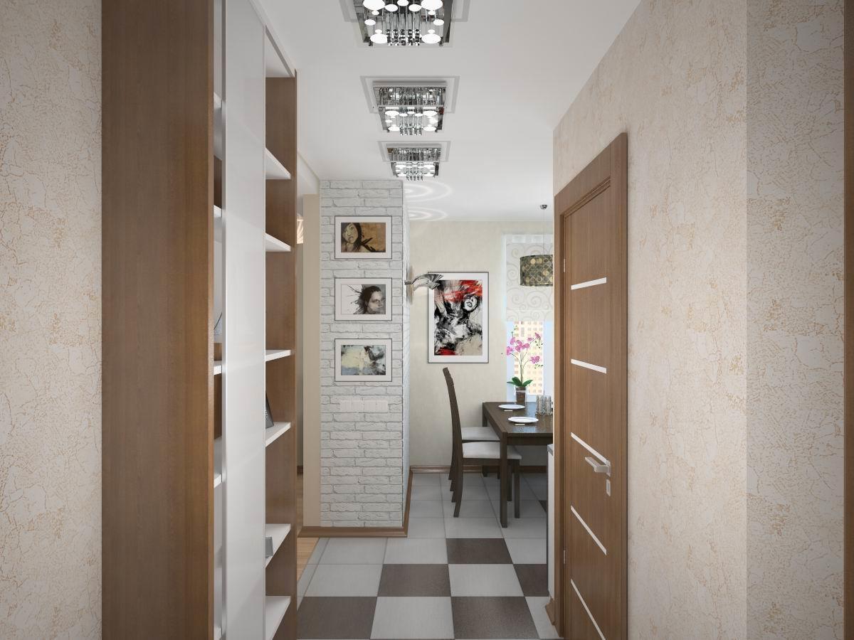 Для того чтобы сделать коридор немного просторней, его можно совместить с гостиной или кухней