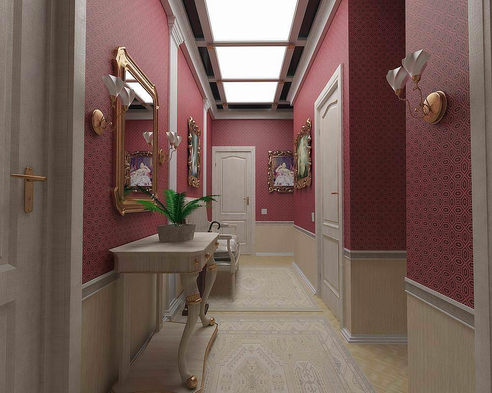 В узком коридоре или однокомнатной квартире с небольшой площадью будет очень уместным сочетание обоев двух цветов