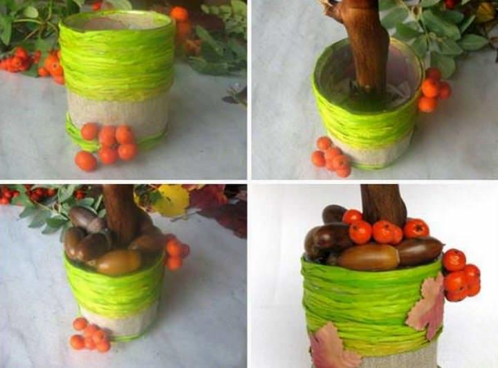 Идея для декорирования горшочка топиария