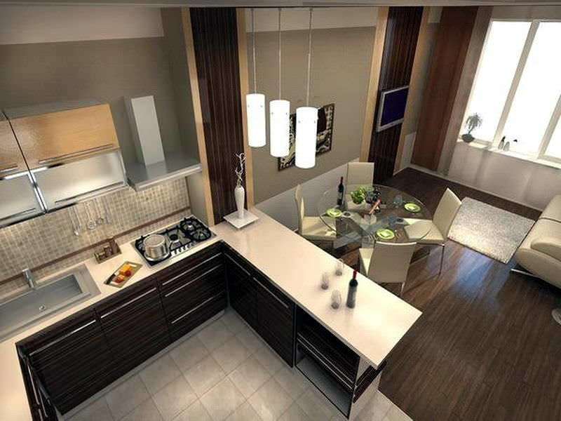 Гостиная, совмещенная с кухней, во многом упрощает процесс организации торжеств и приема большого количества гостей