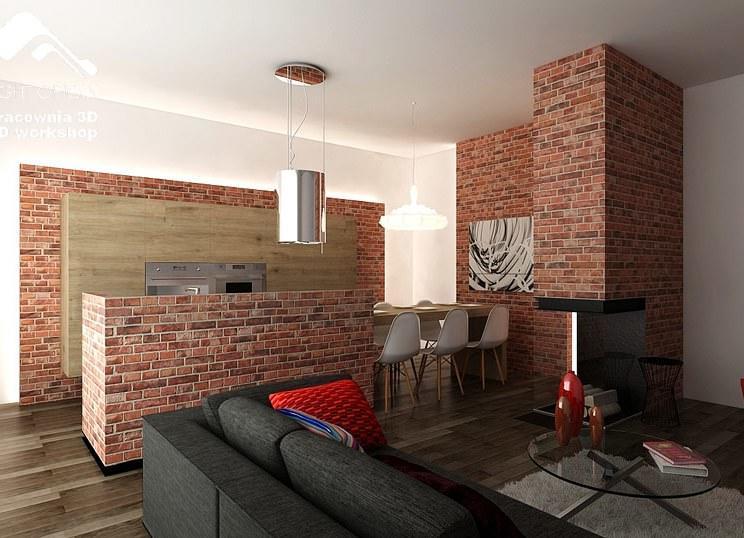 В загородном доме, где площадь позволяет экспериментировать и воплощать необычные решения, можно попробовать создать массивную стену и кухонный остров из кирпича