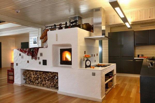 Даже в таком, казалось бы, современном стиле как модерн или хай-тек, печка может идеально вписаться в интерьер