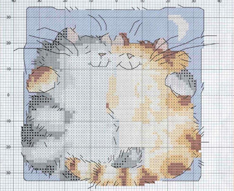Сделать подушку более привлекательной и оригинальной можно благодаря вышитой на ней композиции с изображением милых котов
