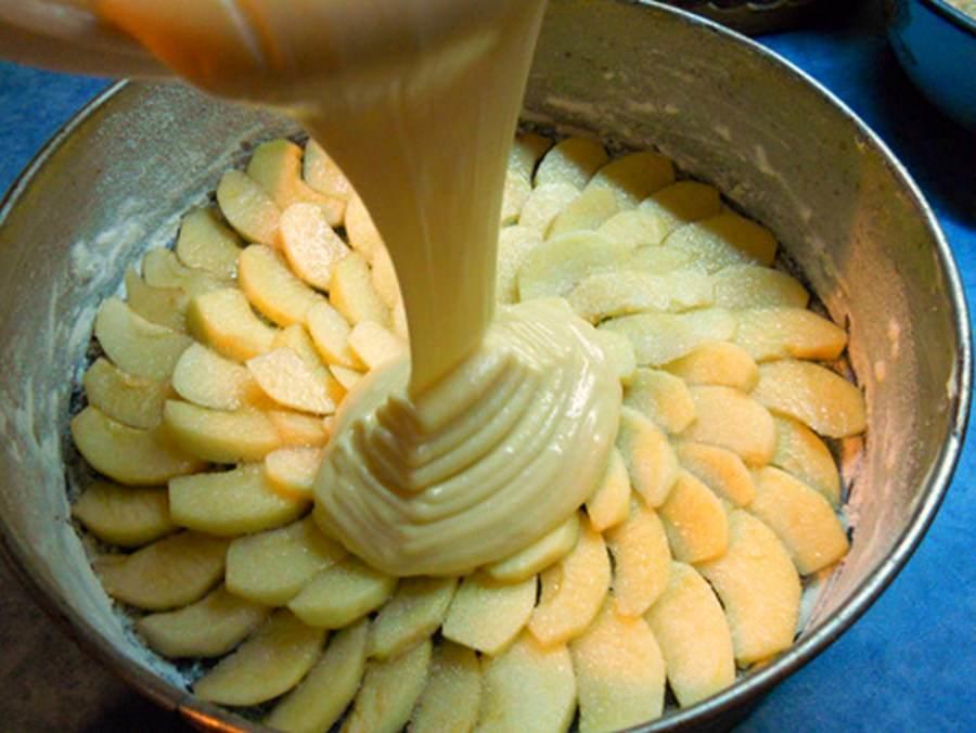 Половину нарезанных яблок выкладываем на дно формы для запекания и заливаем сверху тестом