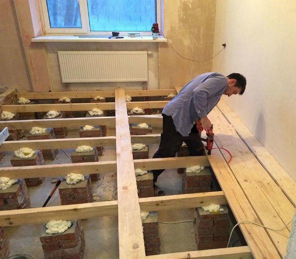 Деревянные полы закрепляют на лаги, которые изготавливают из брусьев, укладываемых на бетонное основание, опорные столбы, или вмуровываемых в стены дома