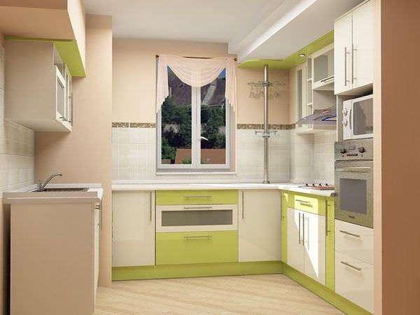 П-образная расстановка кухни вдоль окна позволит использовать максимум пространства