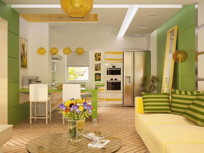 Цвет кухни-гостиной должен быть одним в обоих зонах. Только так можно добиться целостности образа. Если же вы хотите напротив, - чтобы зоны четко выделялись, то используйте различные оттенки одних цветов, так как противоположные или контрастирующие будут нарпягать