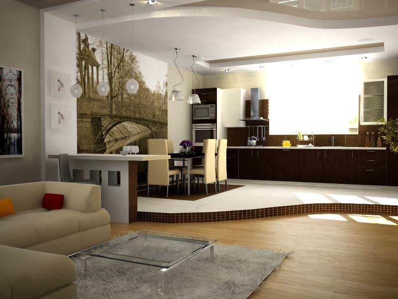 Как правило, планировка кухни гостиной в частном доме оригинальная и отличается от типовых. Этим стоит пользоваться и экспериментировать с дизайном, совмещая комнаты, подбирая стили и цвета
