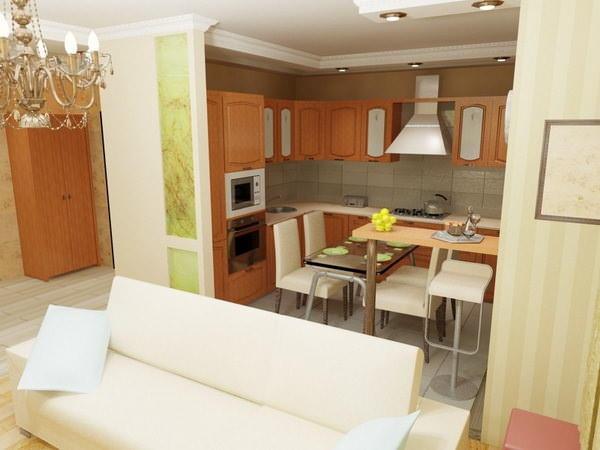 Кухня, совмещенная с гостиной, позволяет сэкономить на приобретении дополнительного телевизора, как в случаях с кухней изолированной