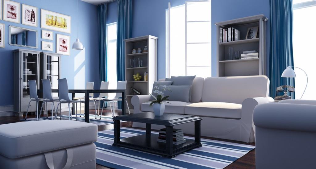 Голубой цвет в гостиной помогает сохранить теплую и уютную атмосферу, если он не слишком темный и имеет разную степень контрастности в сочетании с другими тонами
