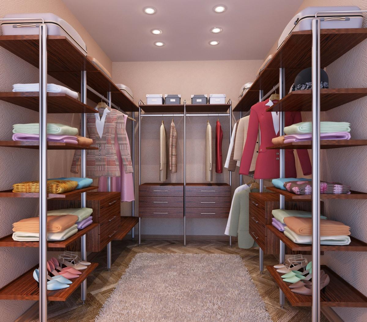 Даже небольшая гардеробная комната должна иметь стеллажи, выдвижные ящики и удобные полочки для одежды