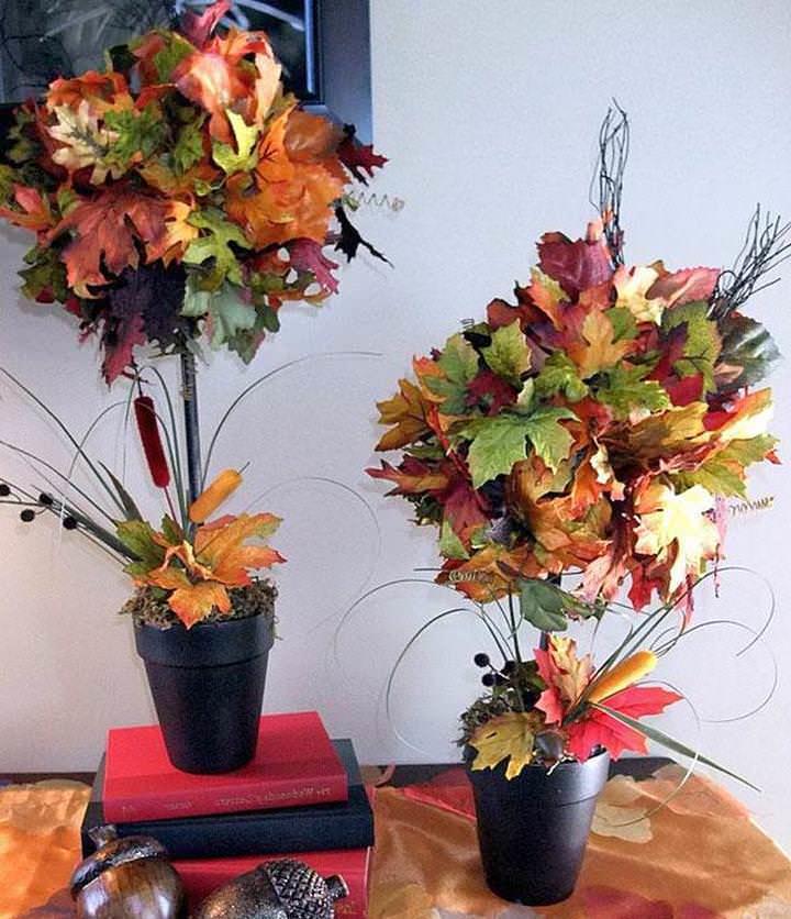 Осеннее дерево может быть выполнено из натуральных или искусственных материалов