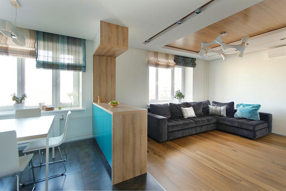 Объединенная большая кухня с гостиной зачастую оформляется в стиле минимализм