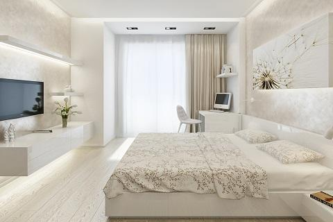При оформлении стен спальни площадью 18 кв. м следует отдавать предпочтение светлым оттенкам
