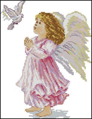 Вышивка ангелов крестом получается великолепной