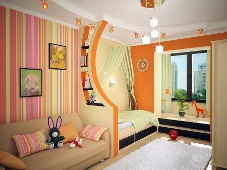 Выполнив зонирование детской комнаты, можно существенно улучшить ее функционал