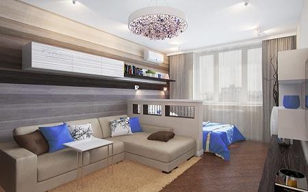 Совмещая спальню и гостиную в одной комнате, необходимо предварительно сделать планировку, указав места расположения мебели