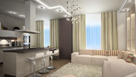 Квартира-студия, в которой между кухней и гостиной отсутствует перегородка, хорошо подходит для сбора компаний друзей по праздникам или для проведения вечеринок
