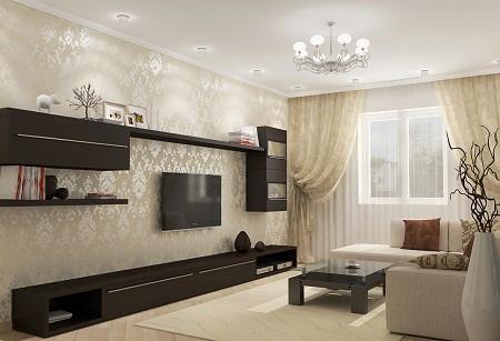 Гостиная, оформленная в бежево-коричневых тонах, является очень уютной и комфортной