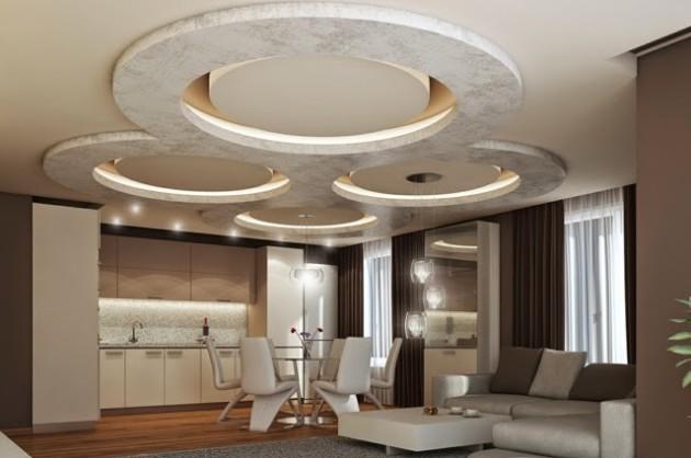 Стильный и красивый потолок вполне может стать ярким акцентом в дизайне помещения