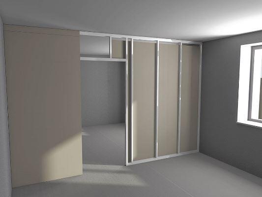 Быстро и оригинально разделить пространство в помещении можно при помощи практичной гипсокартонной перегородки