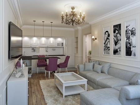 Небольшую кухню-гостиную лучше оформлять в стиле минимализм, так как для обустройства потребуется минимальное количество мебели