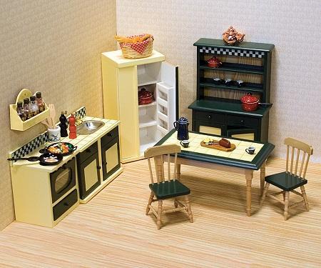 Мебель для кукольного домика может быть изготовлена из разных материалов: дерева, пластика, картона