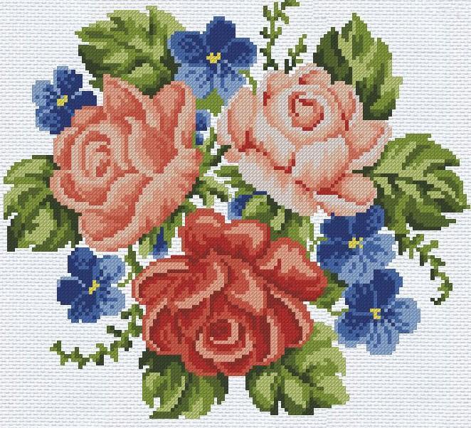 Красивые цветы являются наиболее популярным вариантом для вышивания как среди опытных рукодельниц, так и новичков