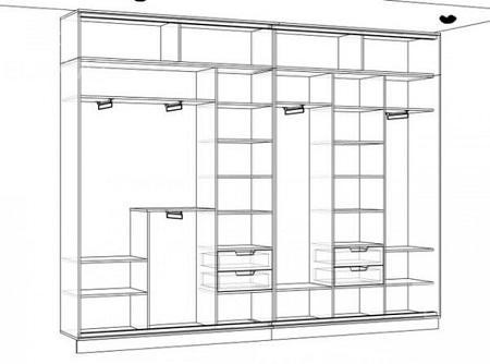 Благодаря схеме можно спроектировать именно тот шкаф-купе, который идеально подойдет по форме и размерам для вашей прихожей