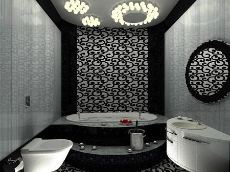 Черно-белая ванная комната выглядит стильно и оригинально