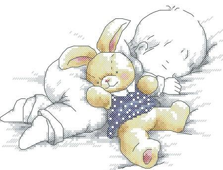 Вышивка с изображением маленького ребенка, вставленная в рамку, станет отличным украшением для детской комнаты