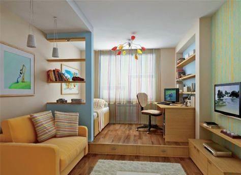 Гостиная и детская в одной комнате: совмещение сделать, теплая литературная комната, фото и дизайн, кровать