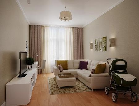 Для гостиной площадью в 20 кв. м лучше покупать раскладной диван и модульную мебель, чтобы сэкономить пространство