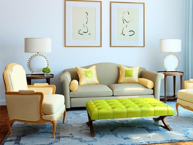 Грамотный подбор материалов для цветового оформления гостиной позволит привнести элемент надежности, консервативности или солидности в дизайн помещения