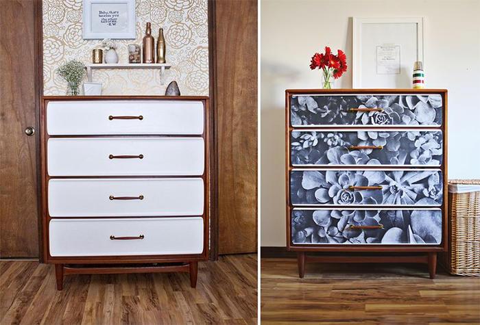 Стильно и необычно преобразить старую мебель можно при помощи декупажа обоями