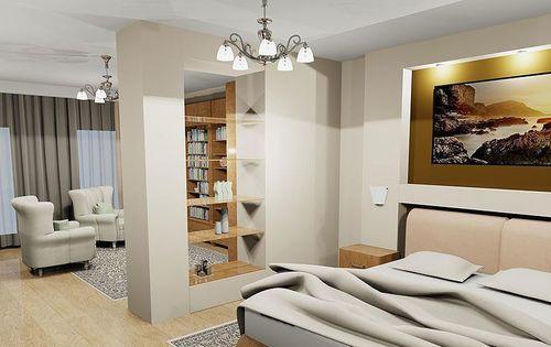 При небольших размерах комнаты можно сделать красивую и уникальную смежную гостиную со спальней