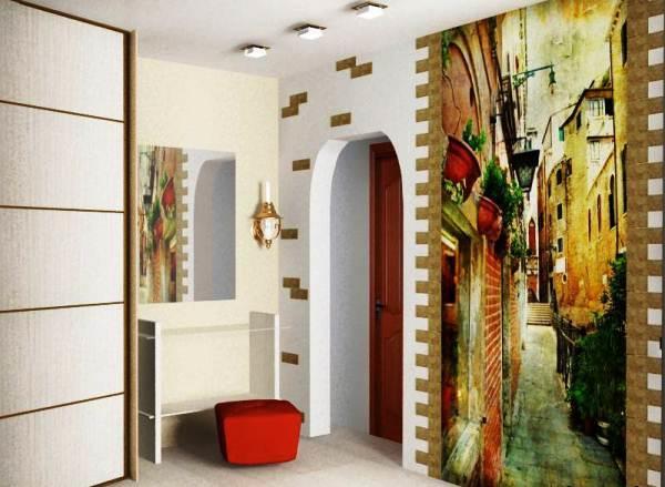 Сделать интерьер прихожей оригинальным и интересным можно при помощи нестандартного оформления стен