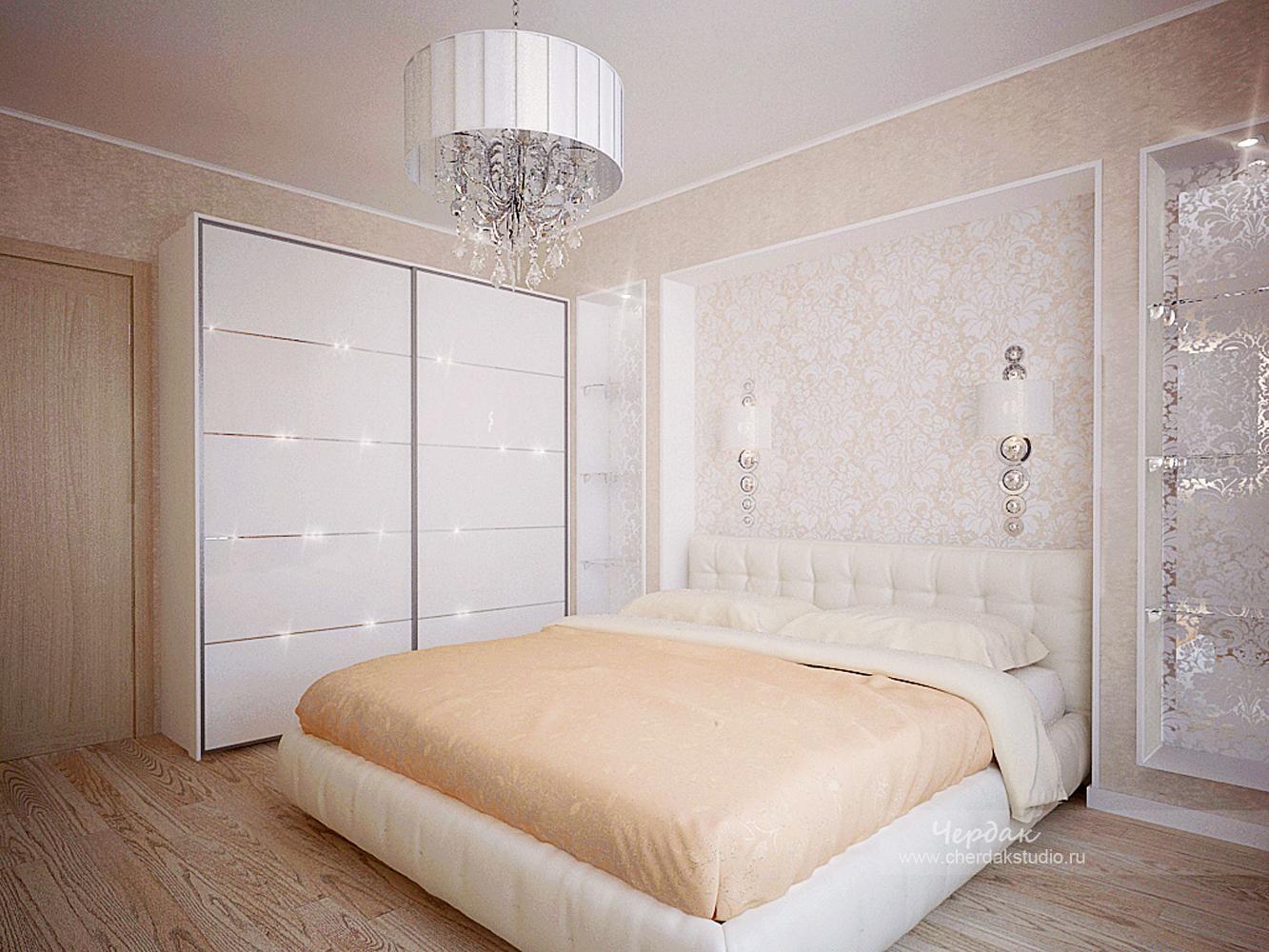 Спальня в светлых тонах будет уютной и удобной для сна и отдыха