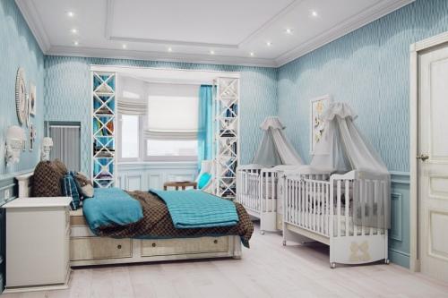 Совмещенная с детской спальня — отличное решение для небольшой однокомнатной квартиры
