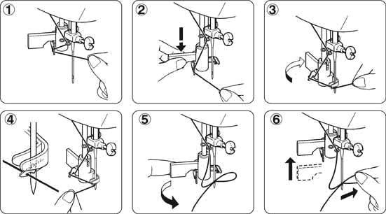 Используя инструкцию, можно правильно и быстро заправить нитку в швейную машинку