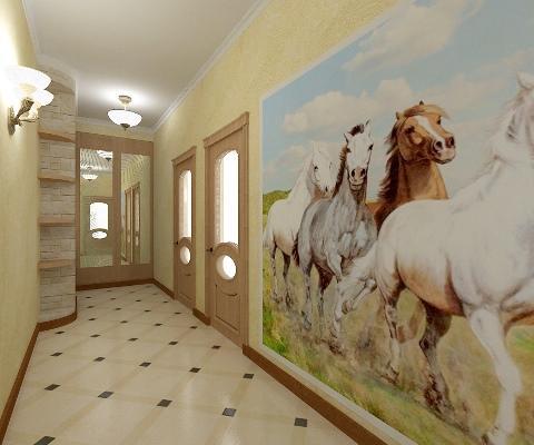 Сделать интерьер коридора интересным и необычным можно при помощи картин или настенного рисунка