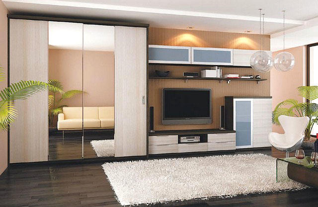 Шкаф-купе в гостиной должен не только быть вместительным и компактным, но и уместно смотреться на фоне другой мебели и отделки