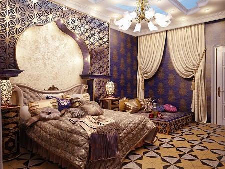Спальня, выполненная в восточном стиле, поражает своим колоритом и широким разнообразием оттенков