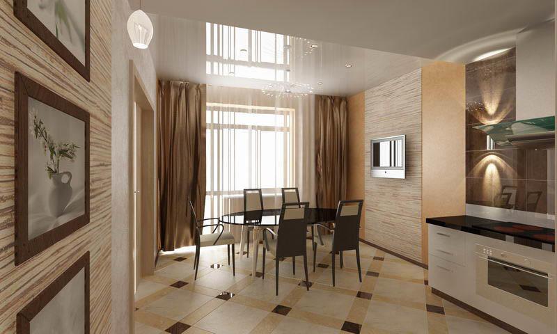 Зонировать помещение можно при помощи отличающегося оформления стен в разных зонах