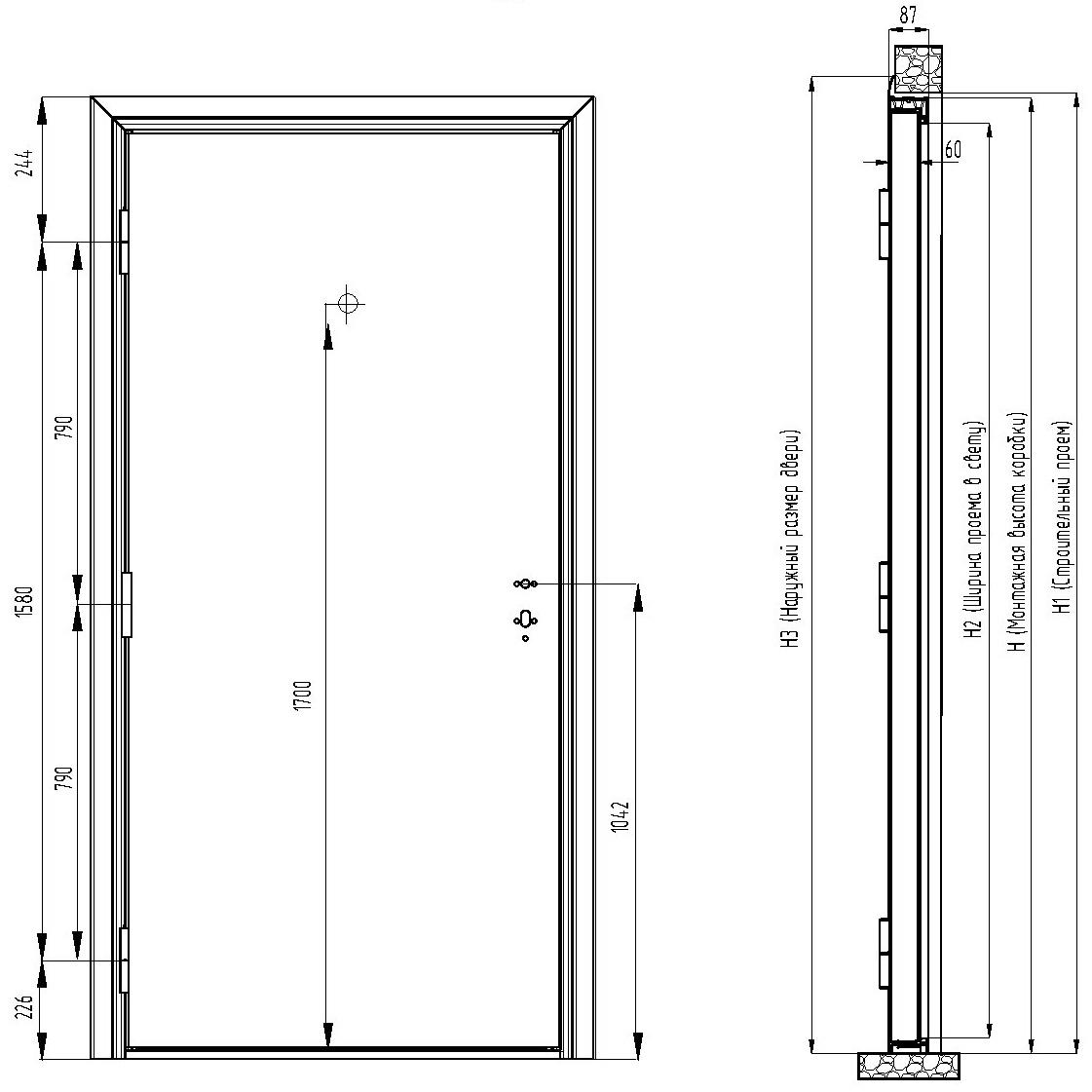 Размеры дверного проема для входной двери