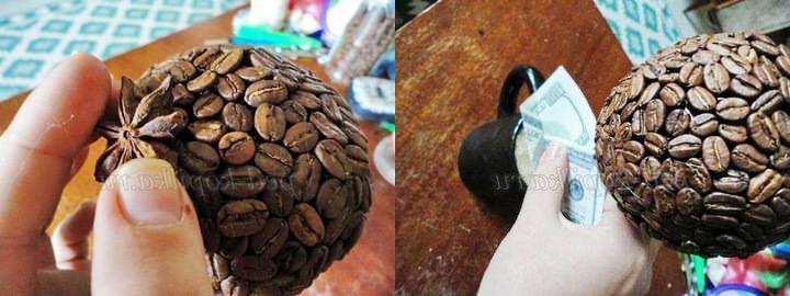 Залог качественного и эстетически привлекательного оформления кроны – правильное расположение кофейных зерен. Они могут размещаться узором или в хаотичном порядке, но должны плотно прилегать друг к другу