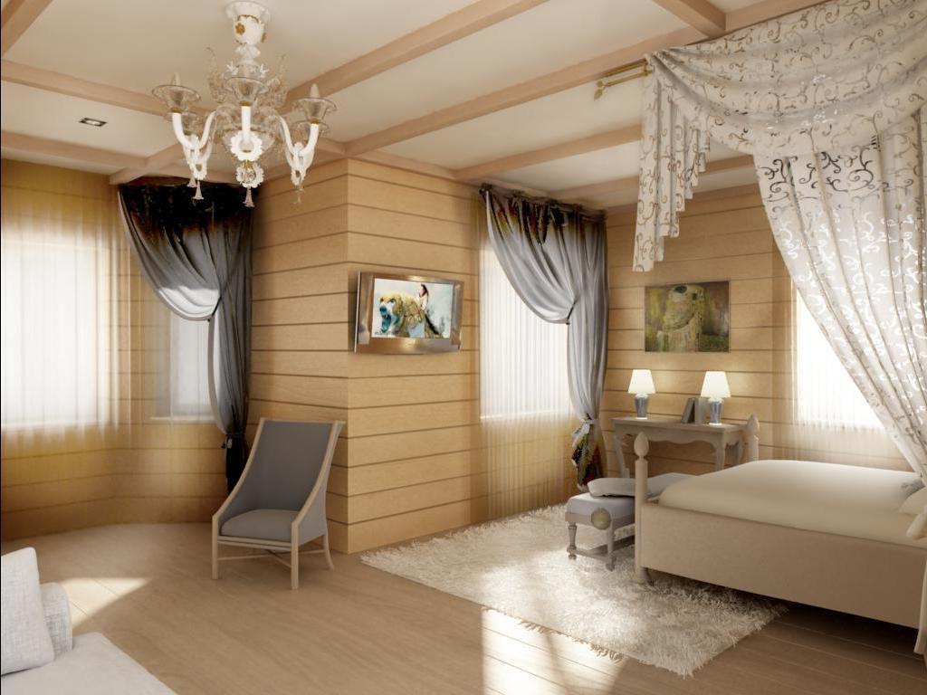 Гипсокартонный потолок прекрасно впишется в интерьер деревянного дома, стильно дополняя его дизайн